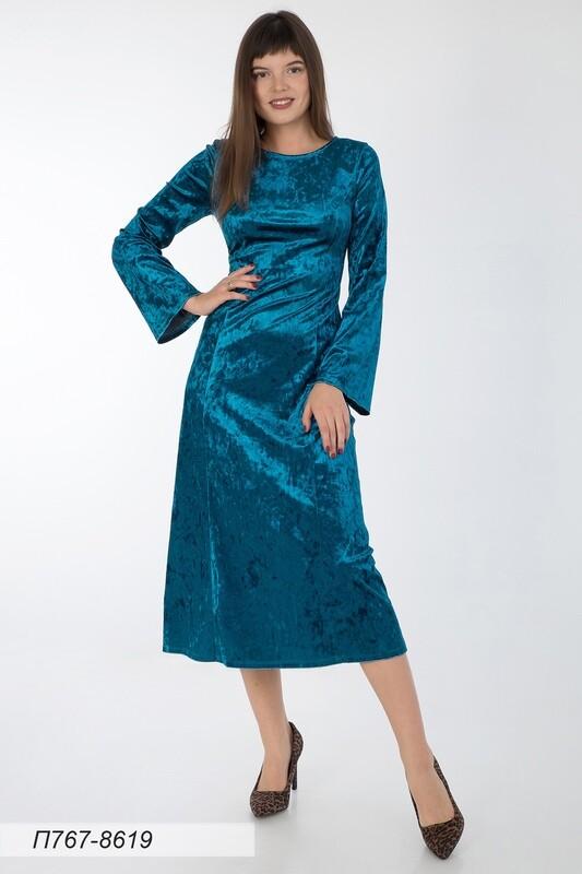 Платье 767 велюр морская волна