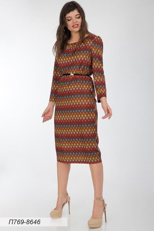 Платье 769 вискоза твил корич-оранж орнамент