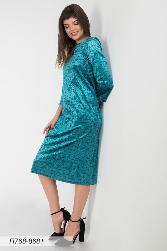 Платье 768 велюр бирюзово-черн текст