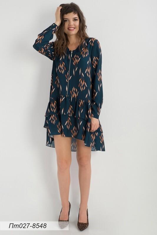 Платье-туника 027 креп-шифон изумруд-оранж листики