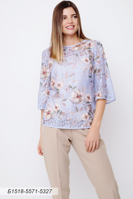 Блузка 1518 кружевное полотно сирен-беж Цветы