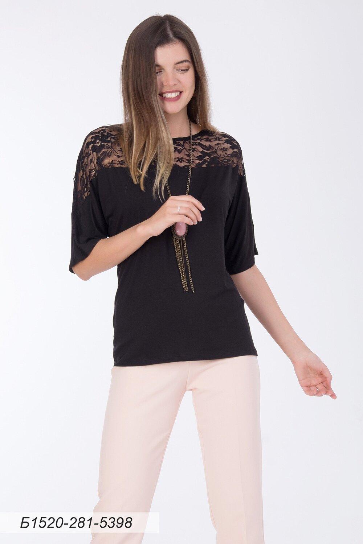 Блузка 1520 тр-ж черный/ кружево черное Цветы