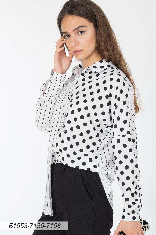 Блузка 1553 креп-шифон бело-черн полоска/ бело-черн горох