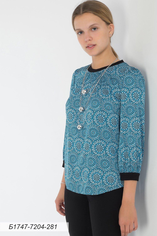 Блузка 1747 шелк-шифон Армани голубой орнамент