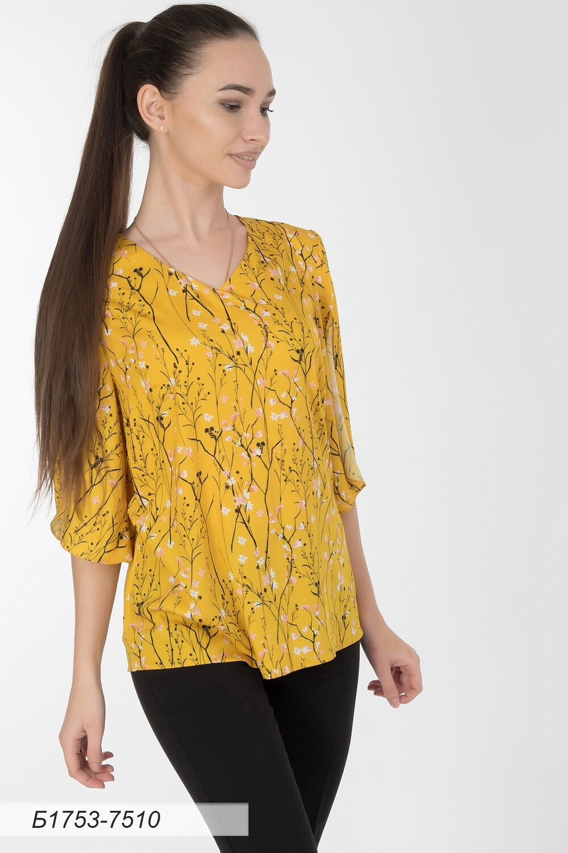 Блузка 1753 шелк-шифон желто-черный Ася
