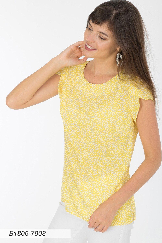 Блузка 1806 креп-шифон бело-желтый крошка