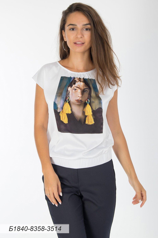 Блузка 1840 шелк-шифон Армани бел-желт серьги