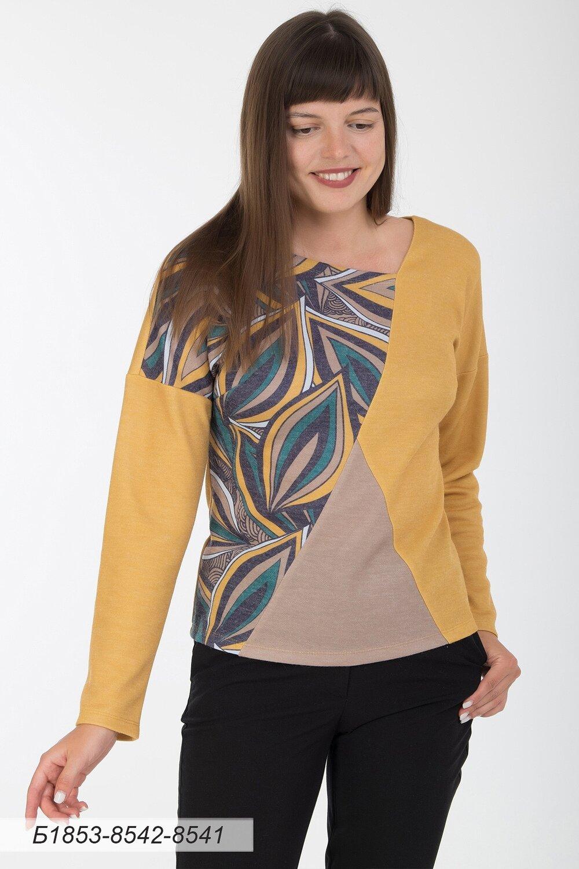 Блузка 1853 тр-ж Верона золотисто-желт/ изумр-желт листья