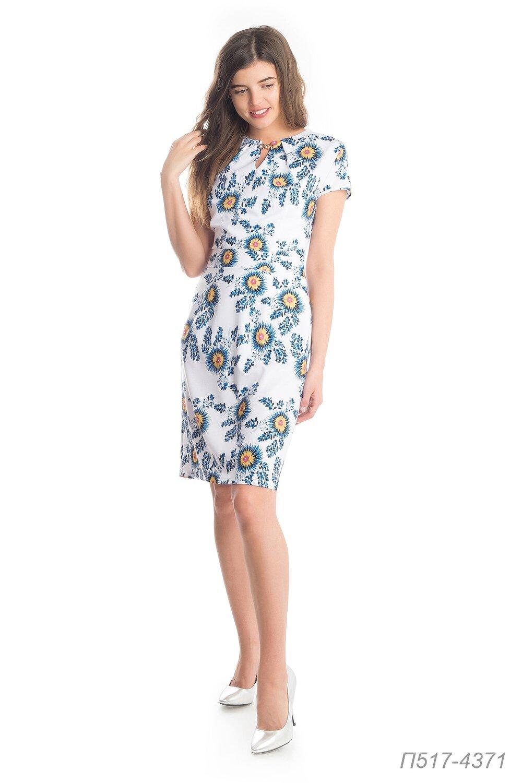 Платье 517 лен-стрейч бело-синий Злата