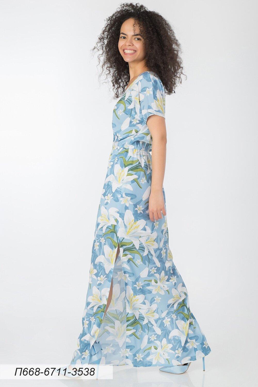 Платье 668 креп-шифон бело-голубой Лилии