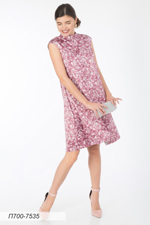 Платье 700 шелк-шифон плательн розовый Пайетки