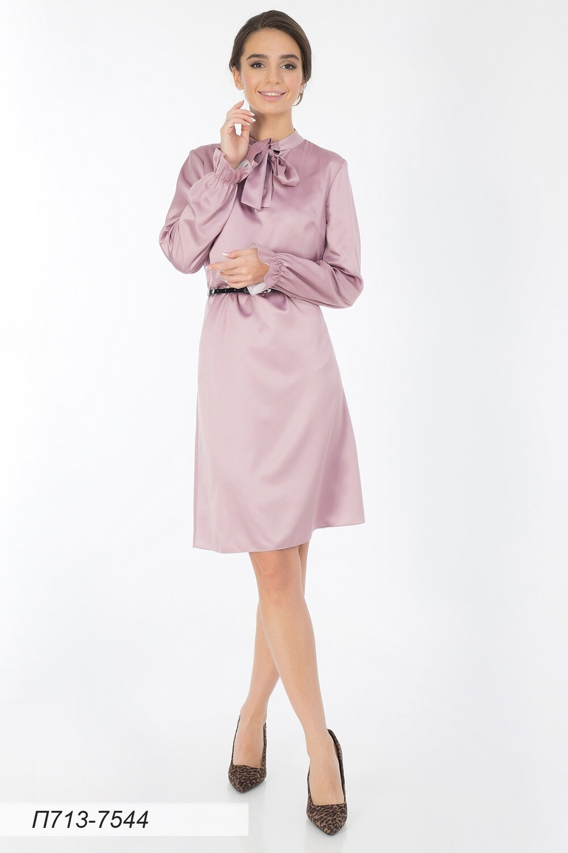 Платье 713 шелк-шифон плательн бледно-лиловый
