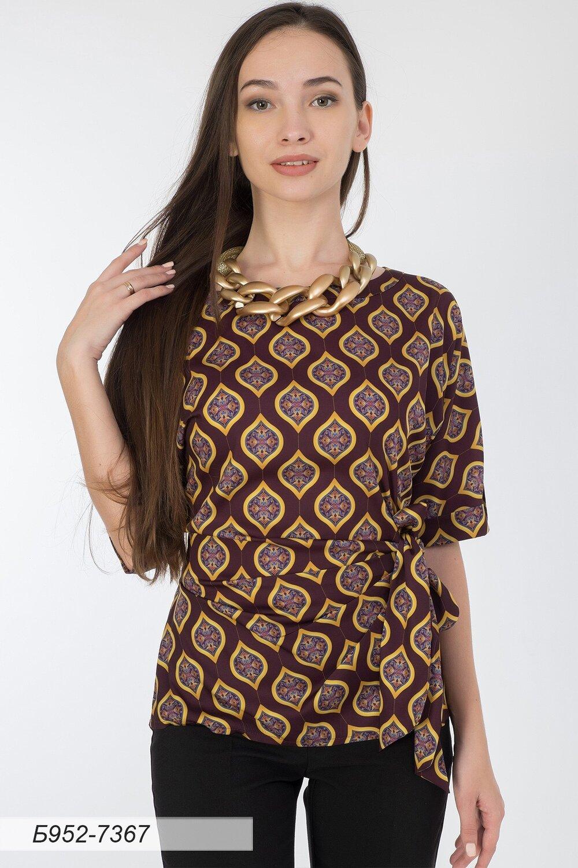 Блузка 952 шелк-шифон бордово-желтый Дели