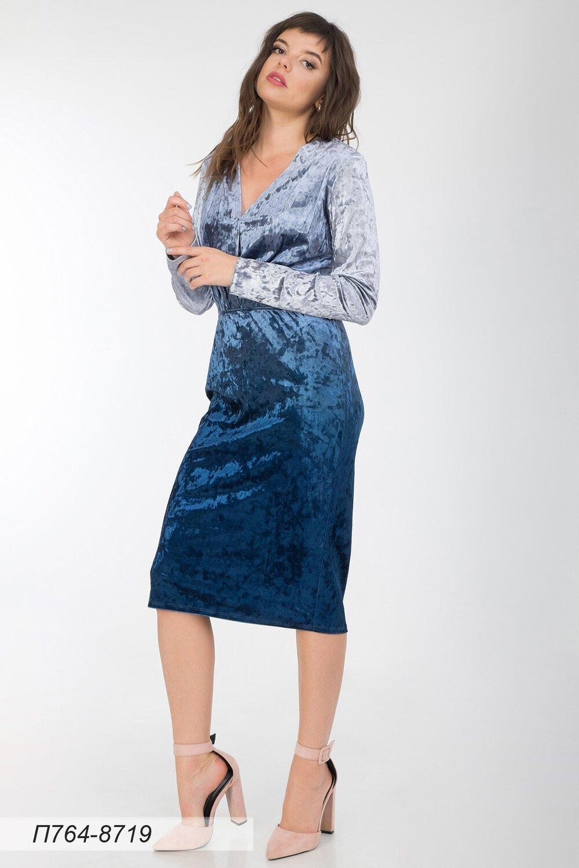 Платье 764 велюр синий градиент
