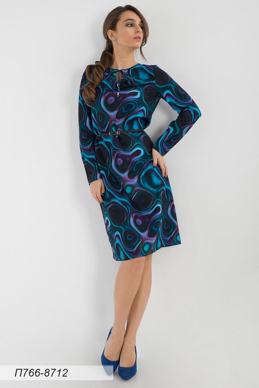 Платье 766 креп-шифон изумрудно-лилов иллюзион