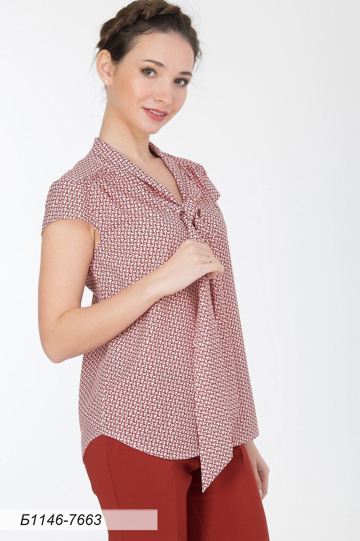 Блузка 1146 креп-шифон пудрово-красн Дарина