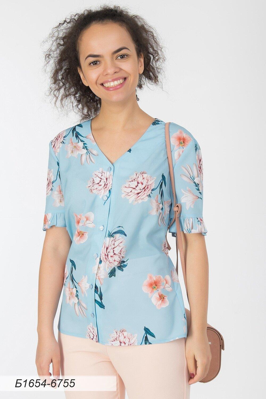 Блузка 1654 креп-шифон голубой Цветы