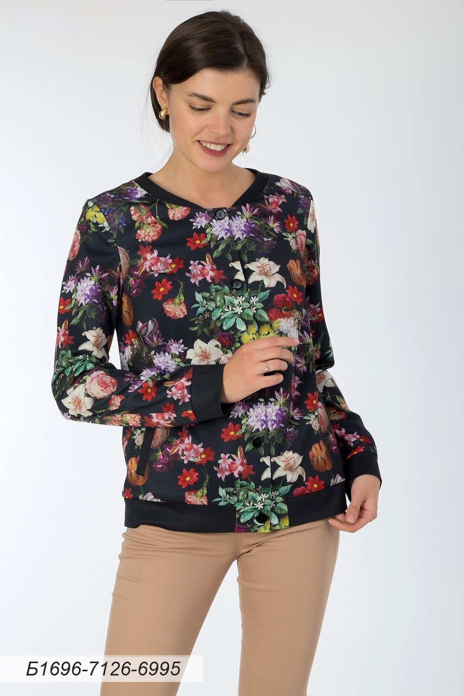 Блузка 1696 тр-ж черно-лиловый Цветы
