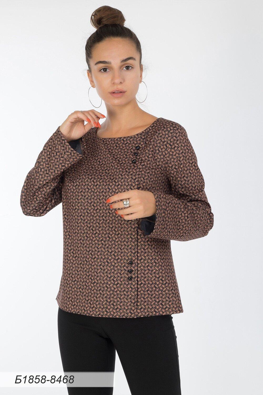 Блузка 1858 тр-ж верблюжье-черн Плетение