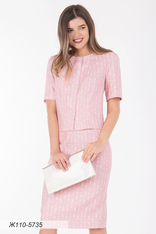 Жакет 110 костюмная розово-белая Сердечки