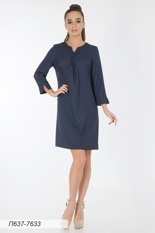 Платье 637 вискоза твил син-бел Горошек