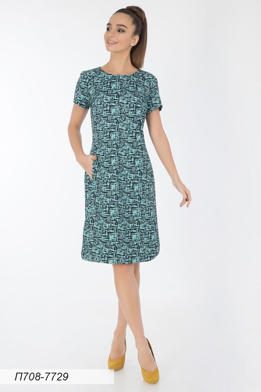 Платье 708 тр-ж мятно-черн Марк
