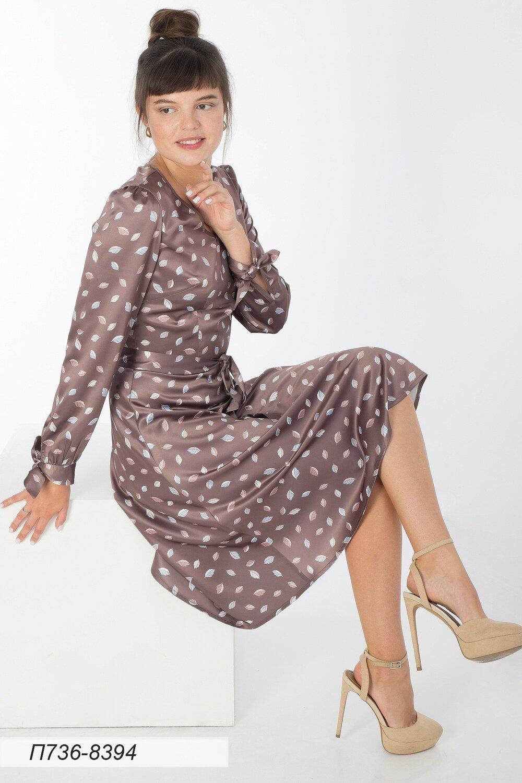 Платье 736 шелк-шифон плательн какао-беж Листики