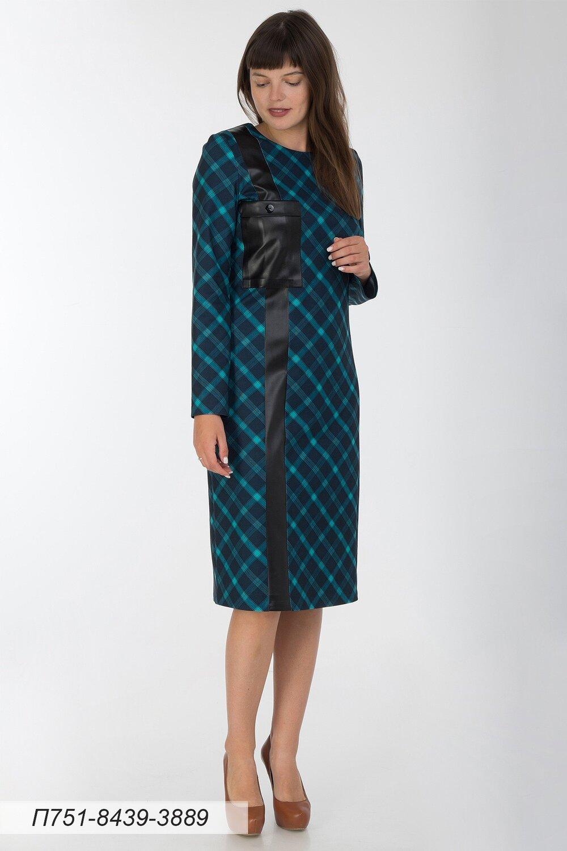 Платье 751 тр-ж сине-бирюз Тартан