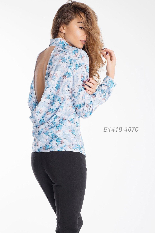 Блузка 1418 креп-шифон голубой Новелла