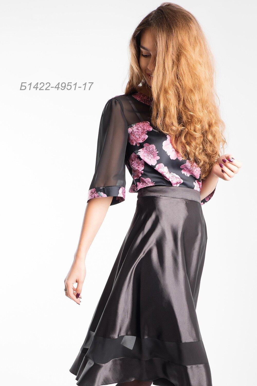 Блузка 1422 шелк-шифон черн-розов Пион/ шифон черн.