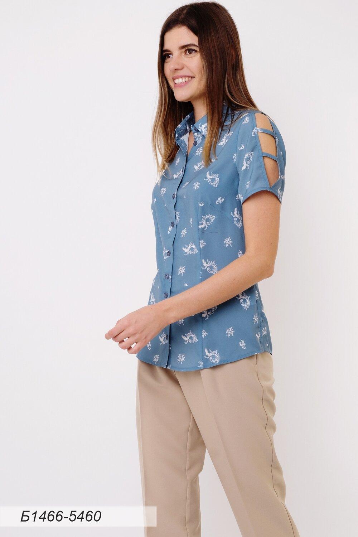 Блузка 1466 креп-шифон серо-голубой Диана