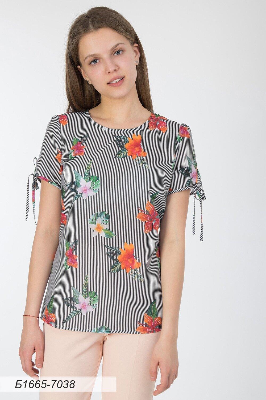 Блузка 1665 вуаль бело-черн полоска Гавайи