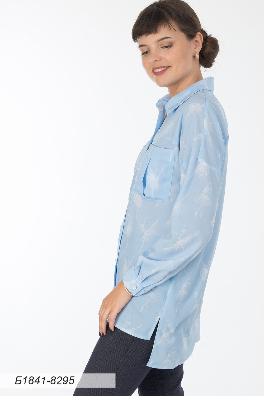Блузка 1841 креп-шифон голубой Балет
