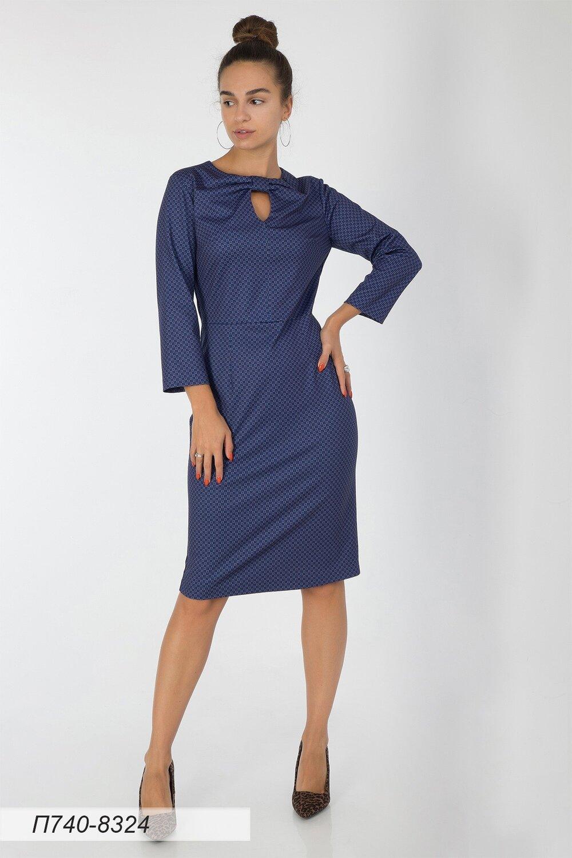 Платье 740 тр-ж сине-бежевый Соты