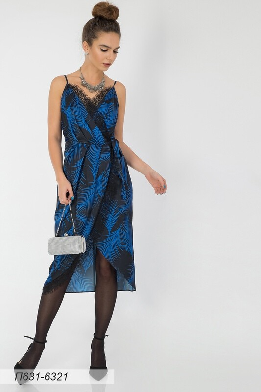 Платье 631 шелк-шифон Армани черн-васильк пальма
