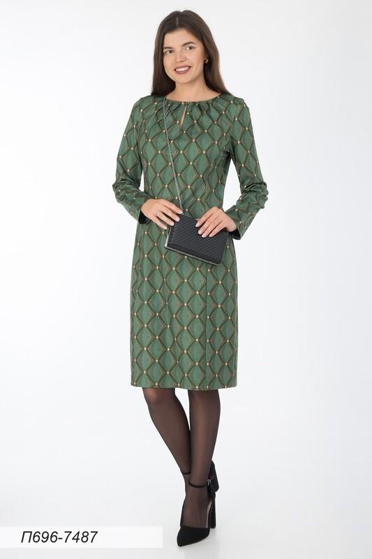 Платье 696 тр-ж зелен-золот Лайма