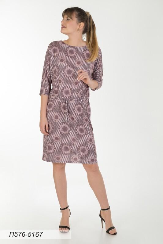 Платье 576 тр-ж беж-коричн Стар