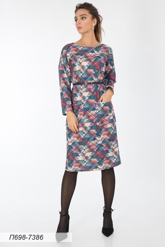 Платье 698 тр-ж Валенсия малиново-бирюз Пэчворк