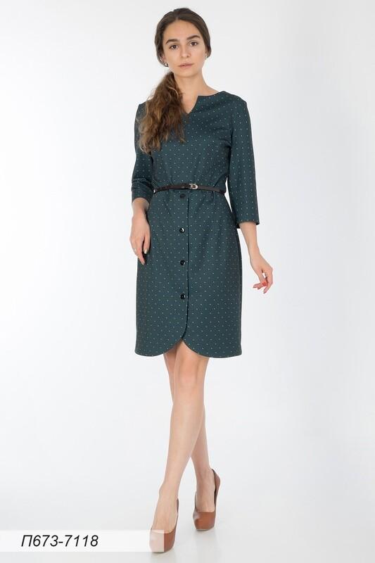 Платье 673 тр-ж темно-зеленый Натали