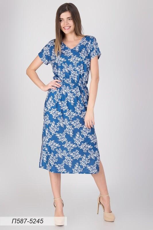 Платье 587 тр-ж сине-белый Алекса