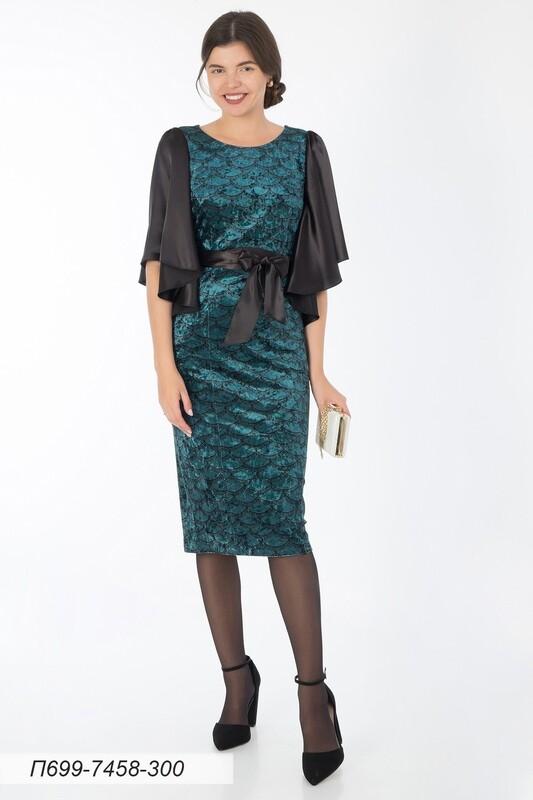 Платье 699 велюр изумрудно-черный Кружево