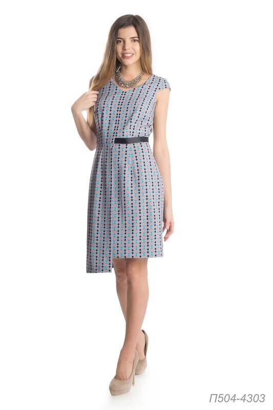 Платье 504 креп бежево-бирюзовый Берта