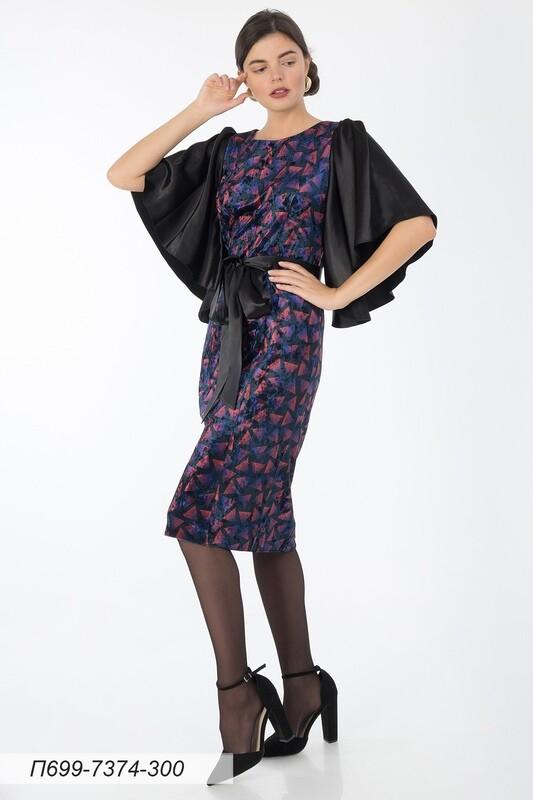 Платье 699 велюр черн-фиолет Градиент