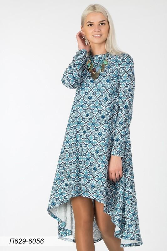 Платье 629 тр-ж Палермо молочно-голубой Орнамент