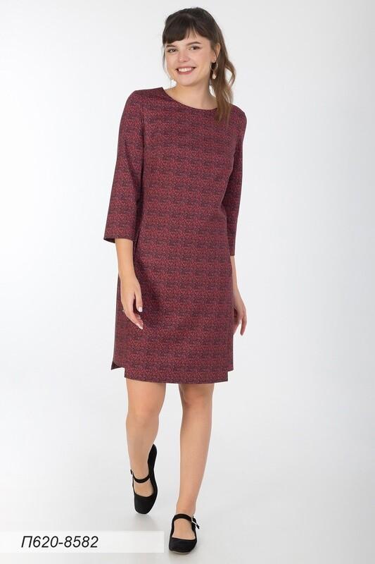 Платье 620 тр-ж борд-красн треугольники