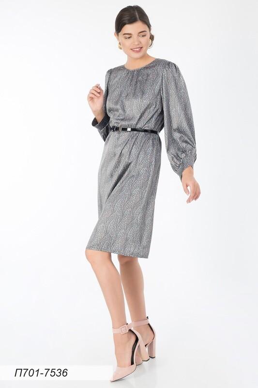 Платье 701 шелк-шифон плательн сер-бирюз Ивушка