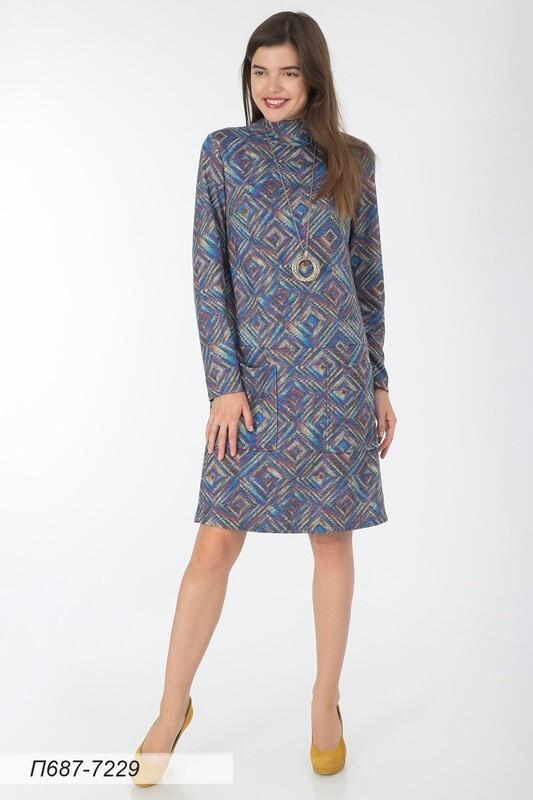 Платье 687 тр-ж Верона сине-желтый Вышивка