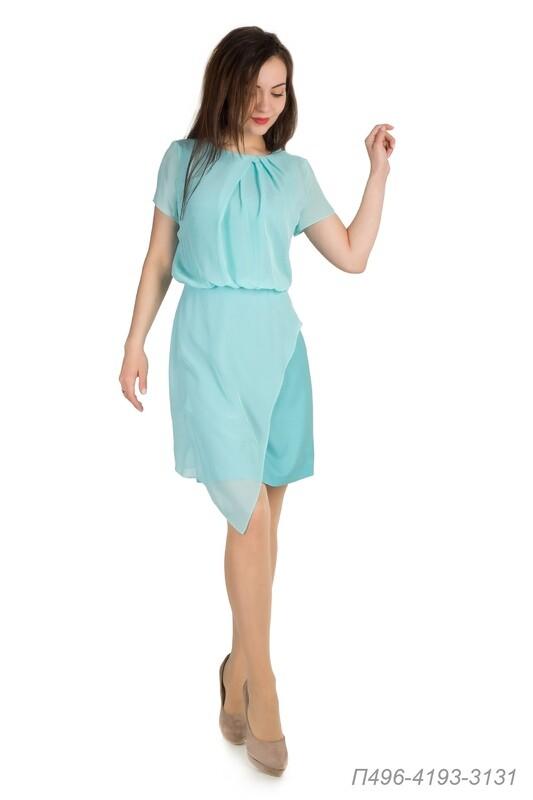 Платье 496 креп мятный/ шифон мятно-голубой