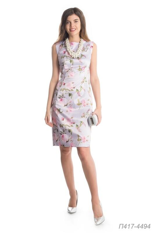Платье 417 хлопок-сатин серо-розовый Прованс