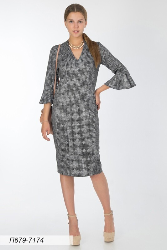 Платье 679 тр-ж Сандра серо-черн Плетение